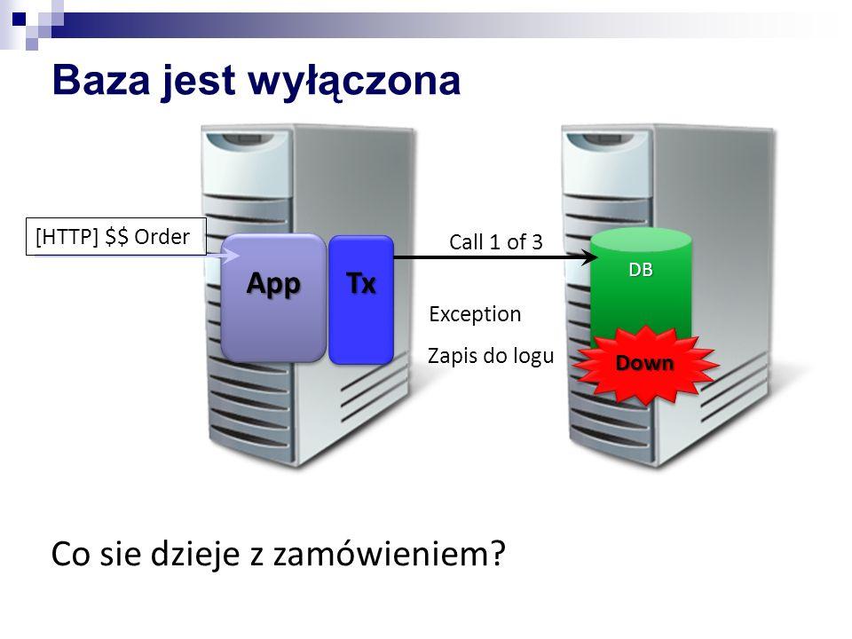 AppApp [HTTP] $$ Order TxTx Baza jest wyłączona Exception Zapis do logu DBDB Call 1 of 3DownDown Co sie dzieje z zamówieniem?