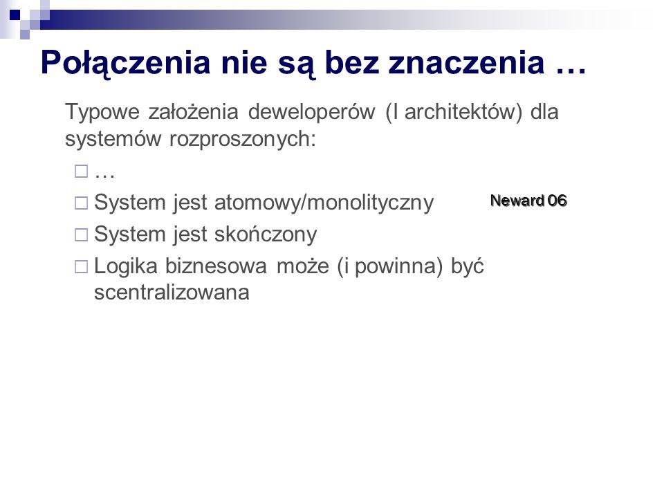 Połączenia nie są bez znaczenia … Typowe założenia deweloperów (I architektów) dla systemów rozproszonych: … System jest atomowy/monolityczny System j