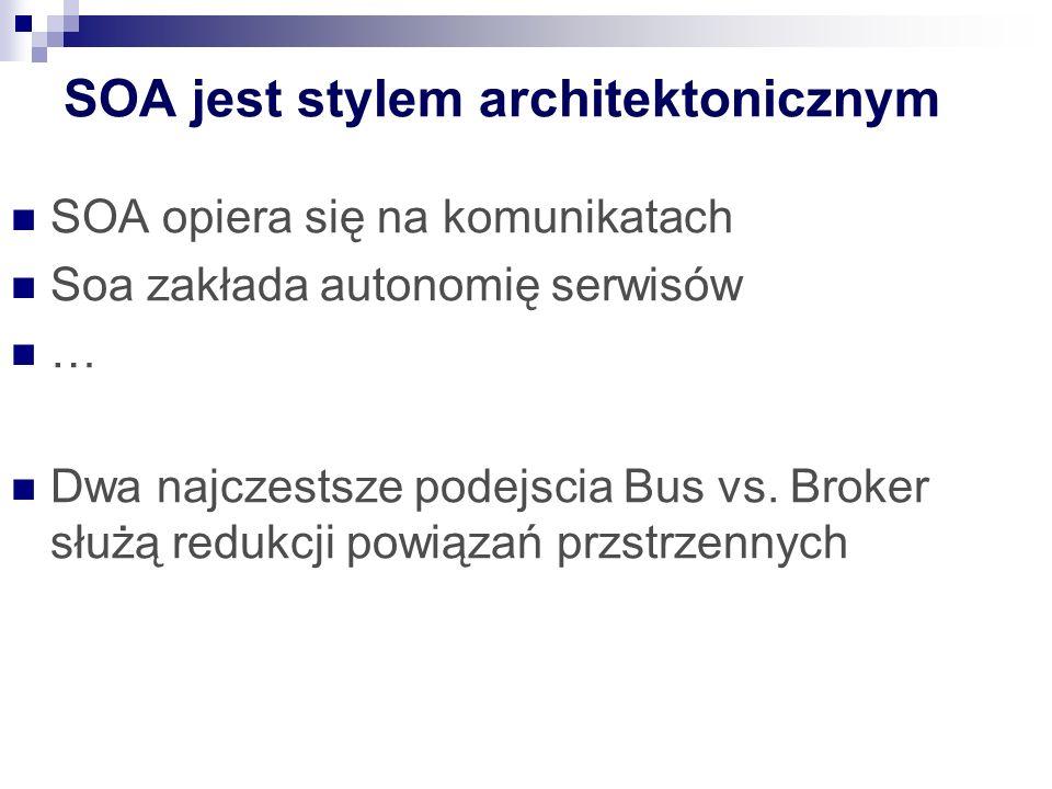 SOA jest stylem architektonicznym SOA opiera się na komunikatach Soa zakłada autonomię serwisów … Dwa najczestsze podejscia Bus vs. Broker służą reduk