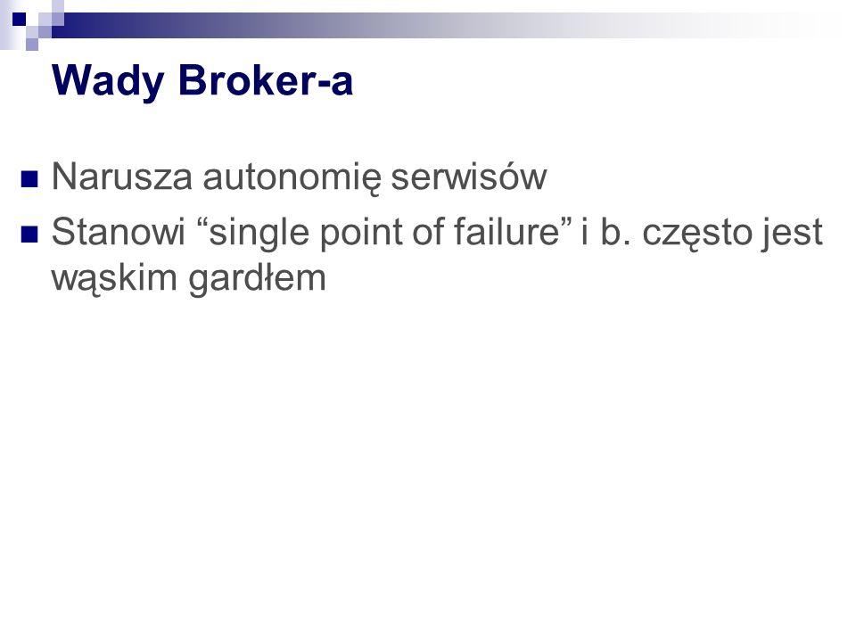 Wady Broker-a Narusza autonomię serwisów Stanowi single point of failure i b. często jest wąskim gardłem