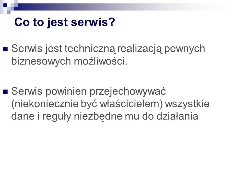 Co to jest serwis? Serwis jest techniczną realizacją pewnych biznesowych możliwości. Serwis powinien przejechowywać (niekoniecznie być właścicielem) w