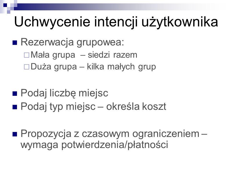 Uchwycenie intencji użytkownika Rezerwacja grupowea: Mała grupa – siedzi razem Duża grupa – kilka małych grup Podaj liczbę miejsc Podaj typ miejsc – o