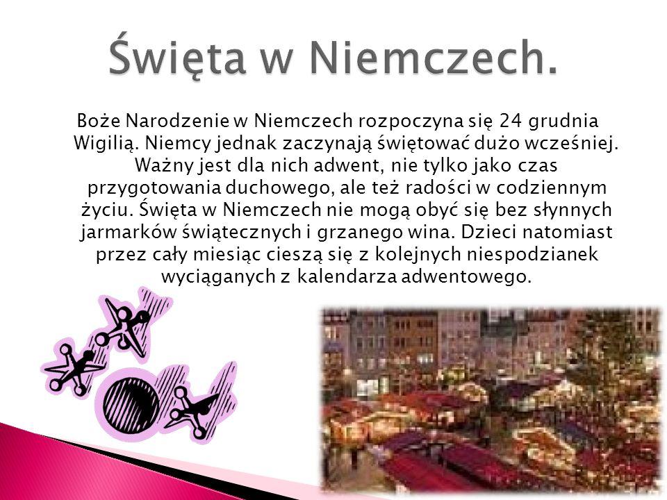 Boże Narodzenie w Niemczech rozpoczyna się 24 grudnia Wigilią. Niemcy jednak zaczynają świętować dużo wcześniej. Ważny jest dla nich adwent, nie tylko