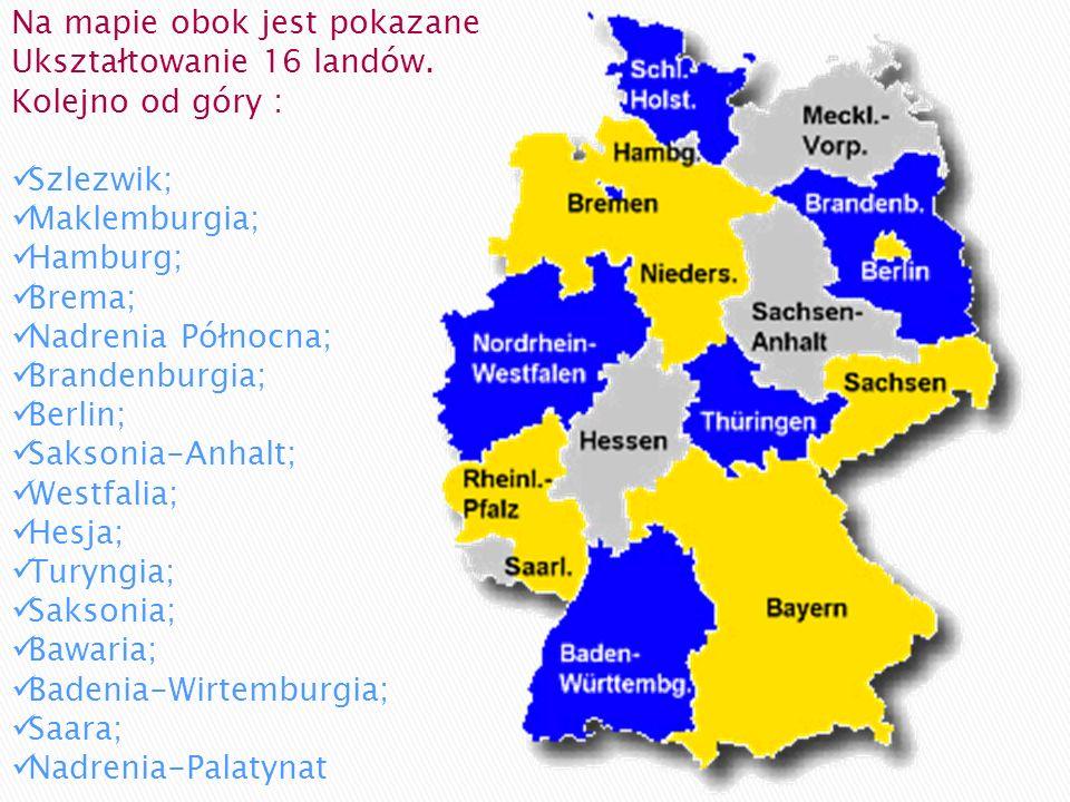 Na mapie obok jest pokazane Ukształtowanie 16 landów. Kolejno od góry : Szlezwik; Maklemburgia; Hamburg; Brema; Nadrenia Północna; Brandenburgia; Berl