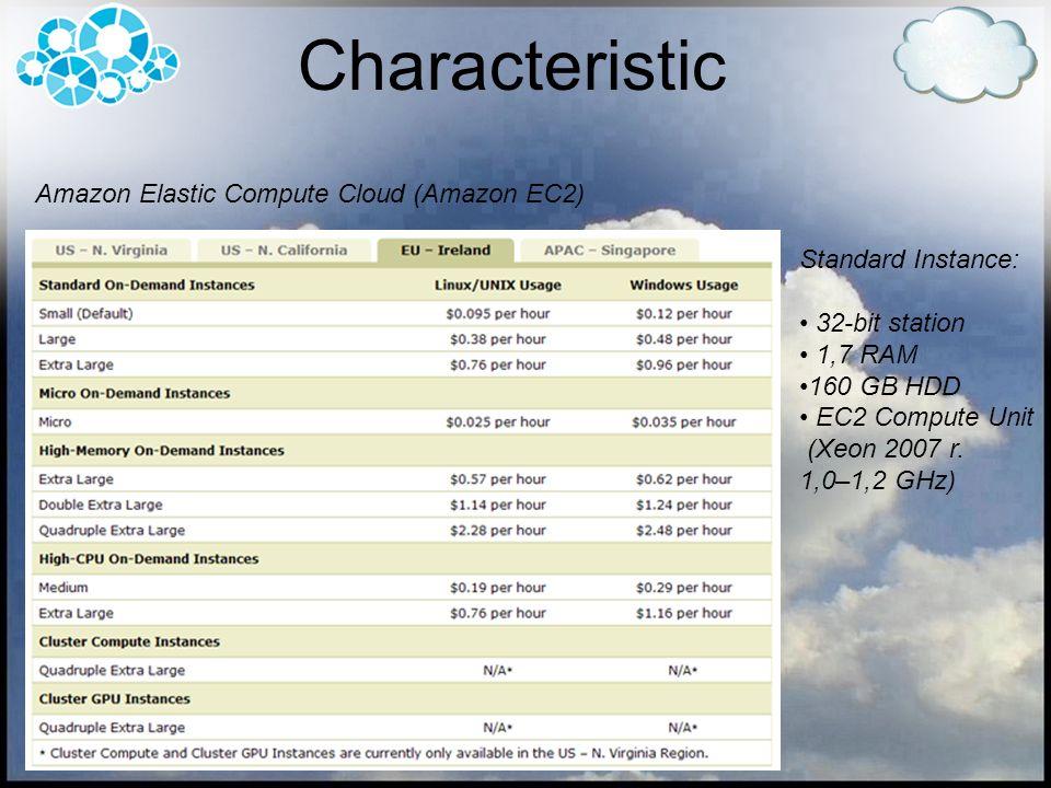 Standard Instance: 32-bit station 1,7 RAM 160 GB HDD EC2 Compute Unit (Xeon 2007 r.