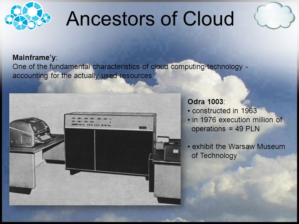 In terms of location Clouds can be divided into: Public Cloud services offered by external supplier Private Cloud the recipient of a services is a concrete company Dedicated Cloud isolated part of the provider resource for a specific customer Hybrid Cloud partly private and partly public Cloud Types of Clouds