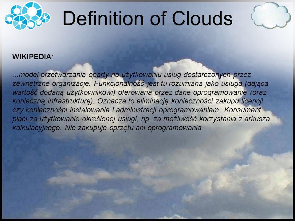 Definition of Clouds WIKIPEDIA:...model przetwarzania oparty na użytkowaniu usług dostarczonych przez zewnętrzne organizacje. Funkcjonalność jest tu r