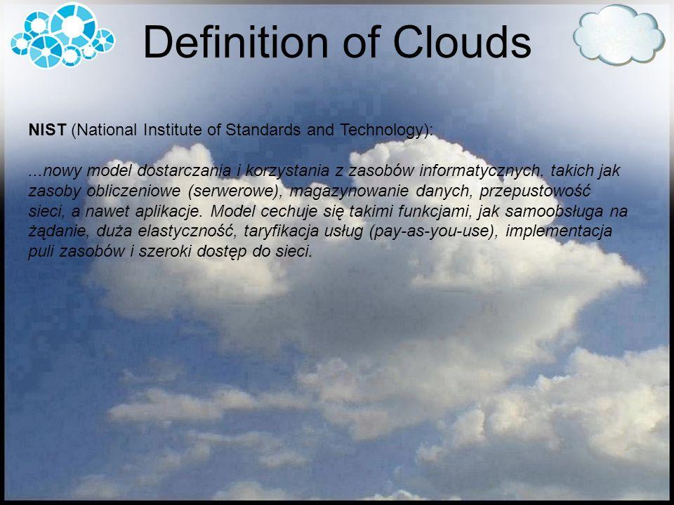 NIST (National Institute of Standards and Technology):...nowy model dostarczania i korzystania z zasobów informatycznych, takich jak zasoby obliczeniowe (serwerowe), magazynowanie danych, przepustowość sieci, a nawet aplikacje.
