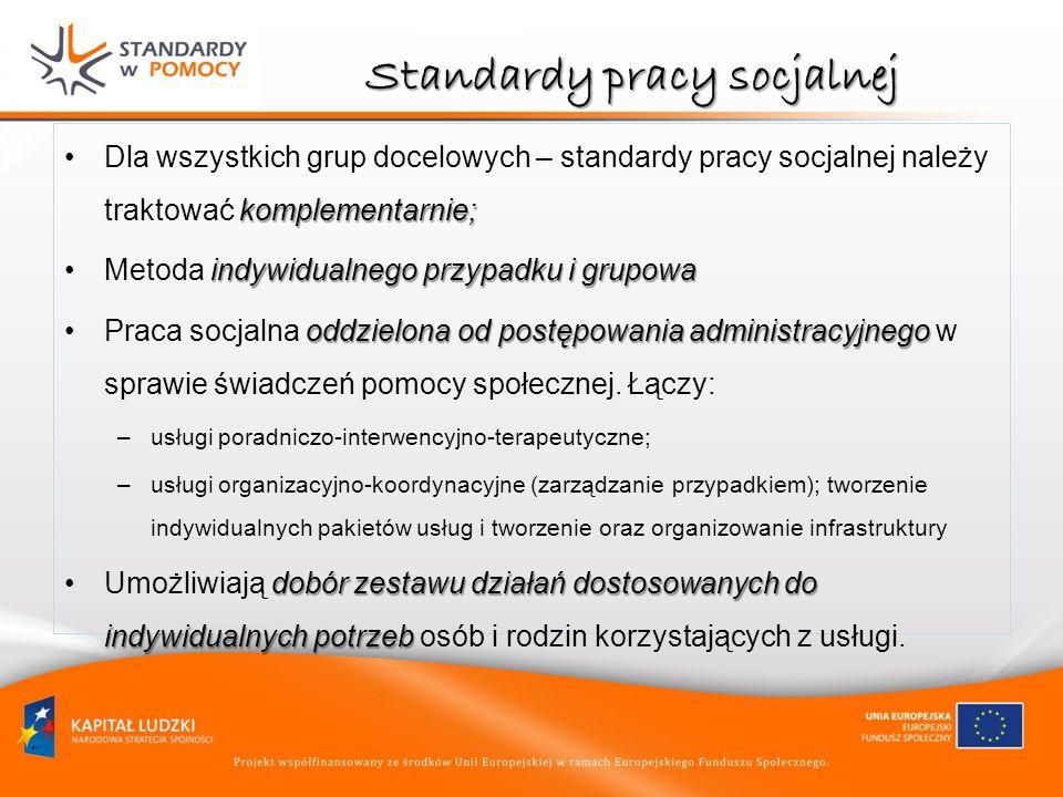 Standardy pracy socjalnej komplementarnie;Dla wszystkich grup docelowych – standardy pracy socjalnej należy traktować komplementarnie; indywidualnego
