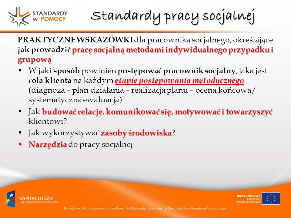 Standardy pracy socjalnej pracę socjalną metodami indywidualnego przypadku i grupową PRAKTYCZNE WSKAZÓWKI dla pracownika socjalnego, określające jak p