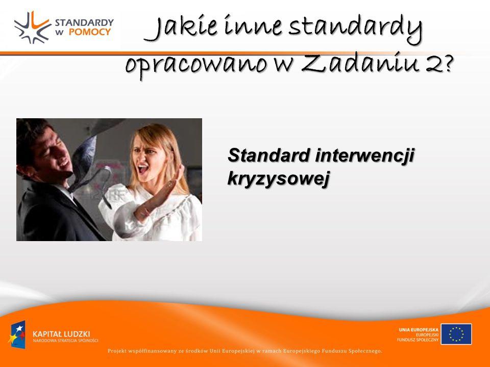Jakie inne standardy opracowano w Zadaniu 2? Standard interwencji kryzysowej