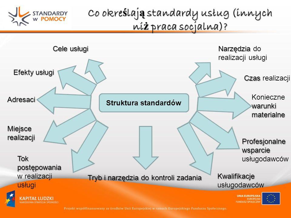 Co okre ś laj ą standardy usług (innych ni ż praca socjalna)? Struktura standardów Cele usługi Efekty usługi Adresaci Miejsce realizacji Tok postępowa