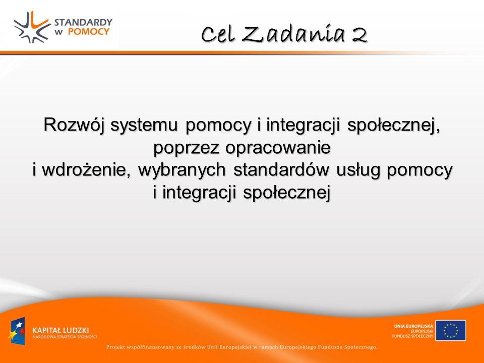 Cel Zadania 2 Rozwój systemu pomocy i integracji społecznej, poprzez opracowanie i wdrożenie, wybranych standardów usług pomocy i integracji społeczne