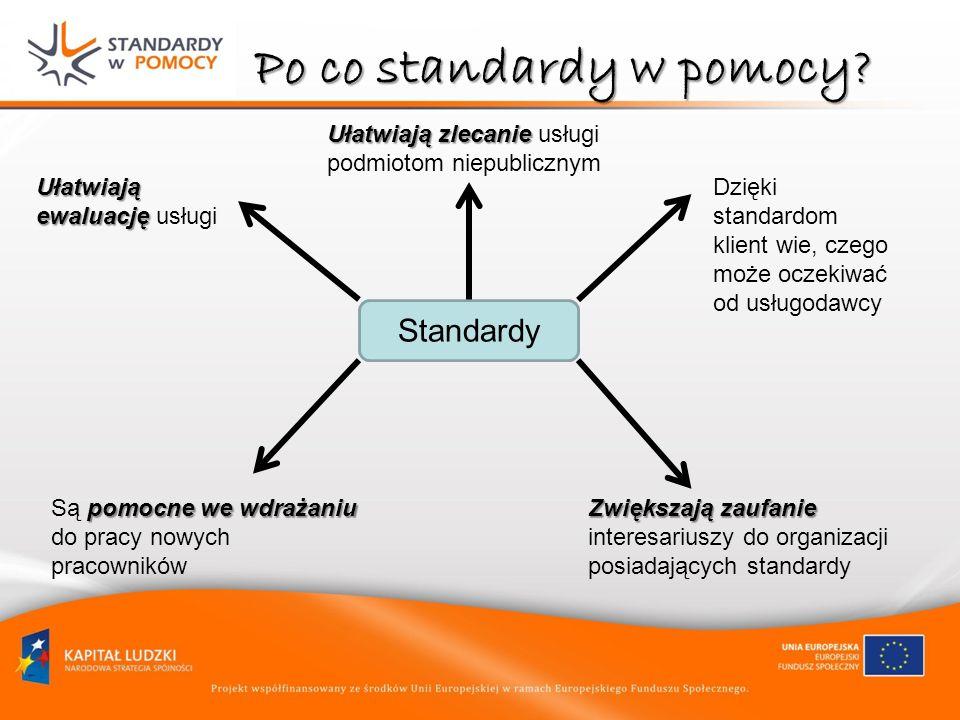 Po co standardy w pomocy? Standardy Ułatwiają ewaluację Ułatwiają ewaluację usługi pomocne we wdrażaniu Są pomocne we wdrażaniu do pracy nowych pracow