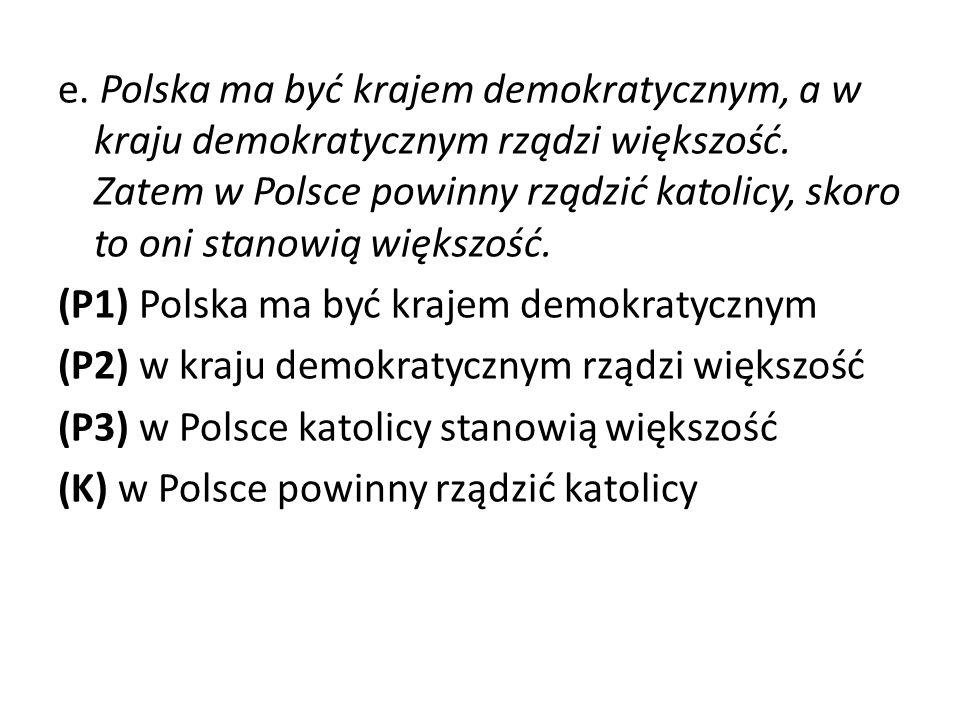 e.Polska ma być krajem demokratycznym, a w kraju demokratycznym rządzi większość.