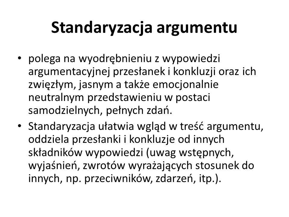 Standaryzacja argumentu polega na wyodrębnieniu z wypowiedzi argumentacyjnej przesłanek i konkluzji oraz ich zwięzłym, jasnym a także emocjonalnie neutralnym przedstawieniu w postaci samodzielnych, pełnych zdań.