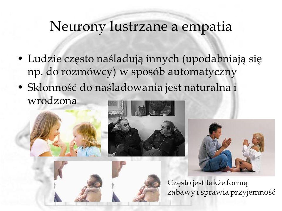 Ludzie często naśladują innych (upodabniają się np. do rozmówcy) w sposób automatyczny Skłonność do naśladowania jest naturalna i wrodzona Neurony lus