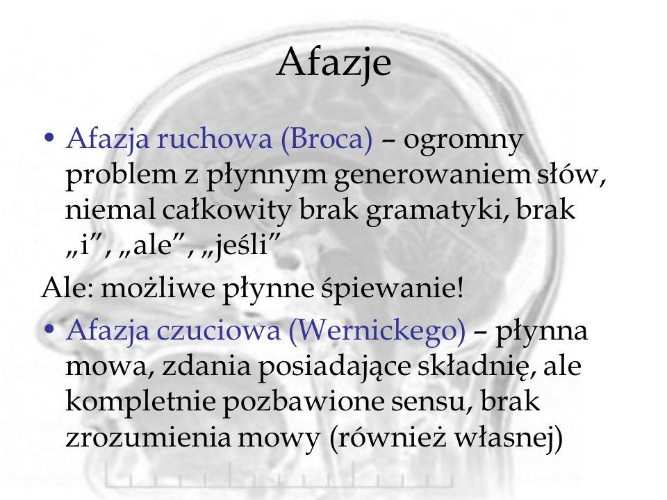 Afazje Afazja ruchowa (Broca) – ogromny problem z płynnym generowaniem słów, niemal całkowity brak gramatyki, brak i, ale, jeśli Ale: możliwe płynne śpiewanie.