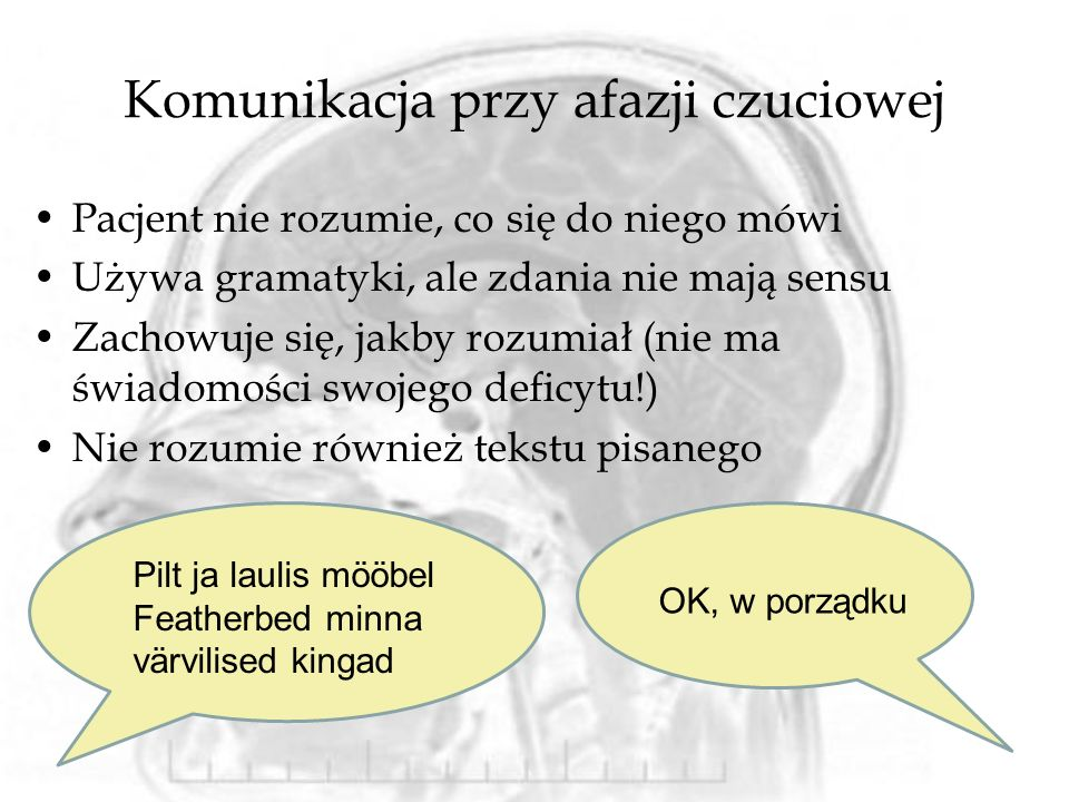 Komunikacja przy afazji czuciowej Pacjent nie rozumie, co się do niego mówi Używa gramatyki, ale zdania nie mają sensu Zachowuje się, jakby rozumiał (nie ma świadomości swojego deficytu!) Nie rozumie również tekstu pisanego Pilt ja laulis mööbel Featherbed minna värvilised kingad OK, w porządku