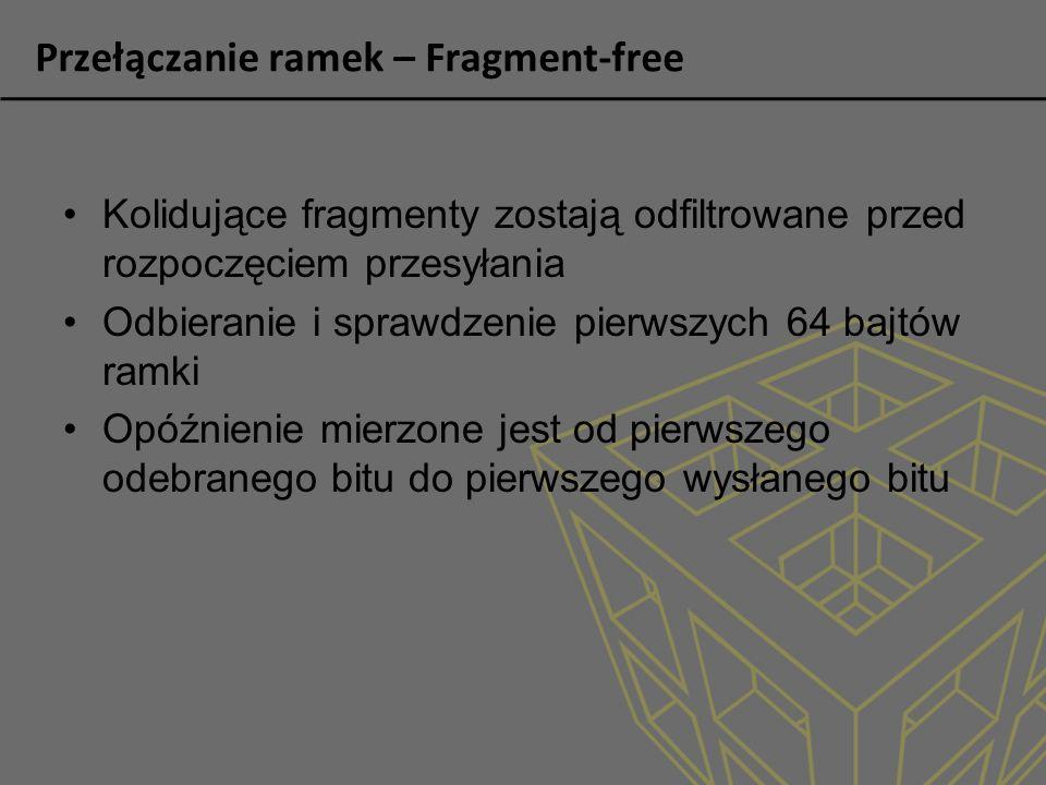 Przełączanie ramek – Fragment-free Kolidujące fragmenty zostają odfiltrowane przed rozpoczęciem przesyłania Odbieranie i sprawdzenie pierwszych 64 baj
