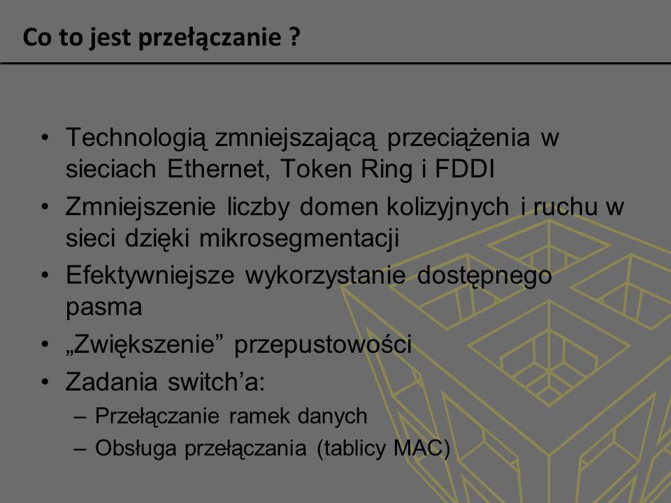 Co to jest przełączanie ? Technologią zmniejszającą przeciążenia w sieciach Ethernet, Token Ring i FDDI Zmniejszenie liczby domen kolizyjnych i ruchu