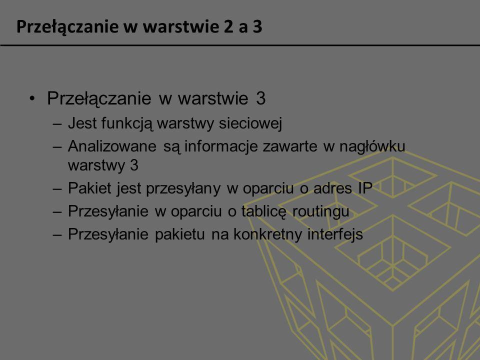 Przełączanie w warstwie 2 a 3 Przełączanie w warstwie 3 –Jest funkcją warstwy sieciowej –Analizowane są informacje zawarte w nagłówku warstwy 3 –Pakie