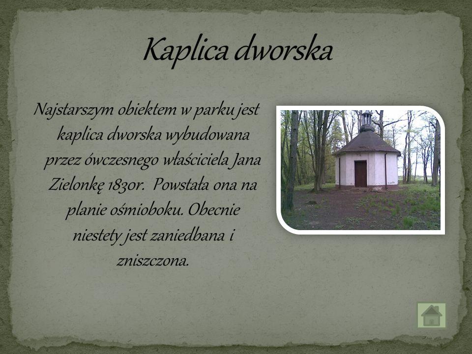 Najstarszym obiektem w parku jest kaplica dworska wybudowana przez ówczesnego właściciela Jana Zielonkę 1830r. Powstała ona na planie ośmioboku. Obecn