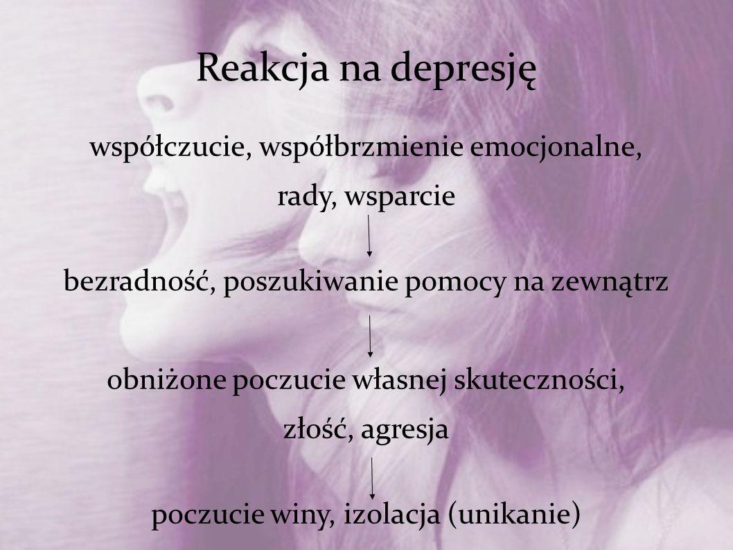 Reakcja na depresję współczucie, współbrzmienie emocjonalne, rady, wsparcie bezradność, poszukiwanie pomocy na zewnątrz obniżone poczucie własnej skut