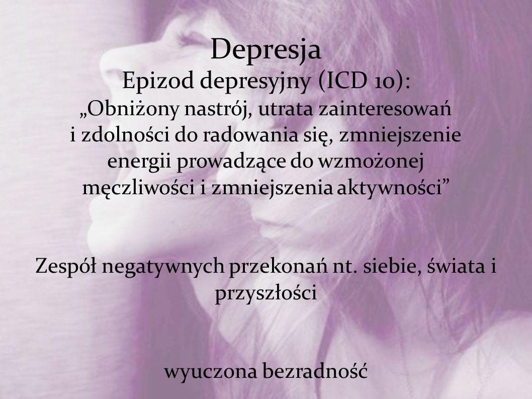 Depresja Epizod depresyjny (ICD 10): Obniżony nastrój, utrata zainteresowań i zdolności do radowania się, zmniejszenie energii prowadzące do wzmożonej