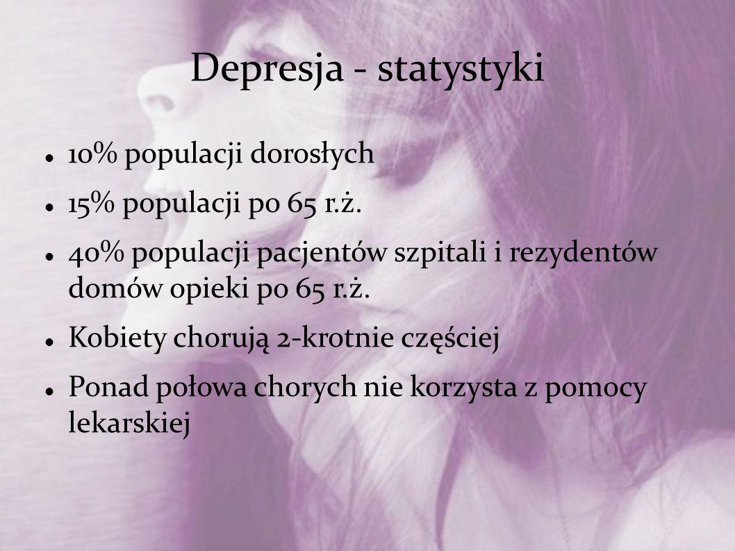 Depresja - statystyki 10% populacji dorosłych 15% populacji po 65 r.ż. 40% populacji pacjentów szpitali i rezydentów domów opieki po 65 r.ż. Kobiety c