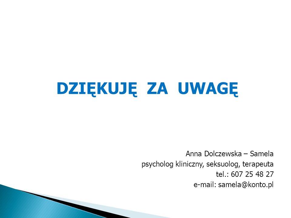 DZIĘKUJĘ ZA UWAGĘ Anna Dolczewska – Samela psycholog kliniczny, seksuolog, terapeuta tel.: 607 25 48 27 e-mail: samela@konto.pl