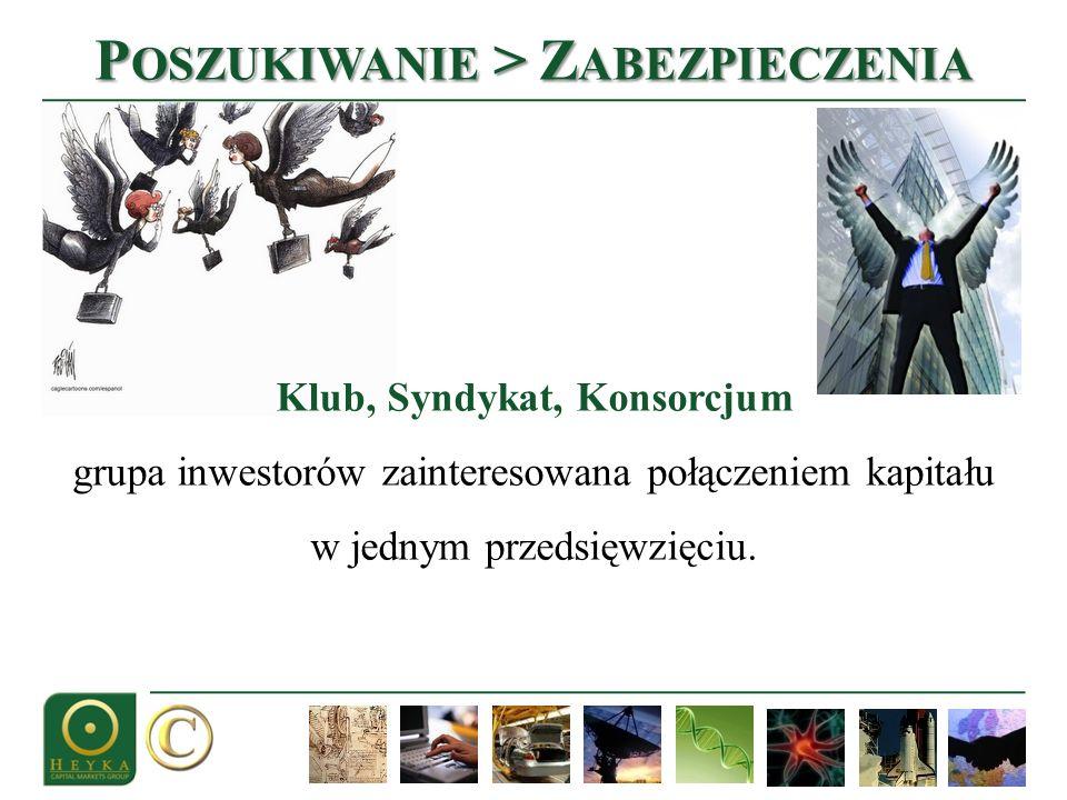 P OSZUKIWANIE > Z ABEZPIECZENIA Klub, Syndykat, Konsorcjum grupa inwestorów zainteresowana połączeniem kapitału w jednym przedsięwzięciu.