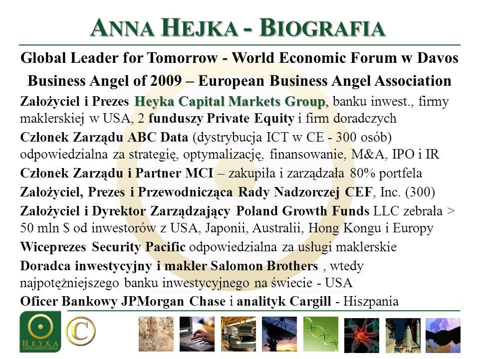 A NNA H EJKA - B IOGRAFIA Global Leader for Tomorrow - World Economic Forum w Davos Business Angel of 2009 – European Business Angel Association He y ka Capital Markets Group, Założyciel i Prezes He y ka Capital Markets Group, banku inwest., firmy maklerskiej w USA, 2 funduszy Private Equity i firm doradczych Członek Zarządu ABC Data (dystrybucja ICT w CE - 300 osób) odpowiedzialna za strategię, optymalizację, finansowanie, M&A, IPO i IR Członek Zarządu i Partner MCI – zakupiła i zarządzała 80% portfela Założyciel, Prezes i Przewodnicząca Rady Nadzorczej CEF, Inc.