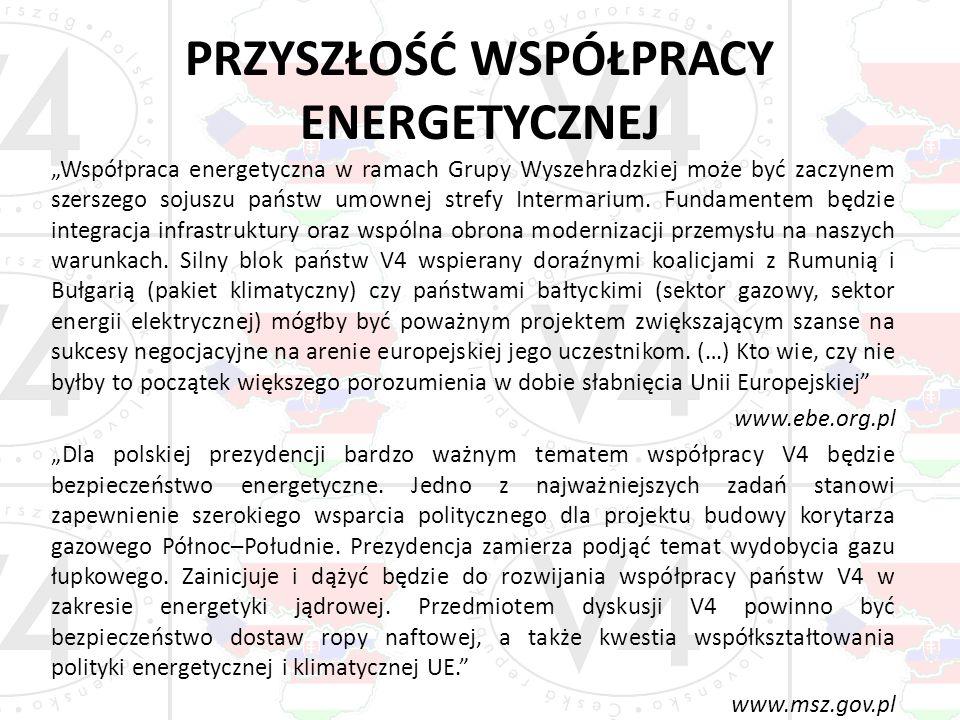 PRZYSZŁOŚĆ WSPÓŁPRACY ENERGETYCZNEJ Współpraca energetyczna w ramach Grupy Wyszehradzkiej może być zaczynem szerszego sojuszu państw umownej strefy In