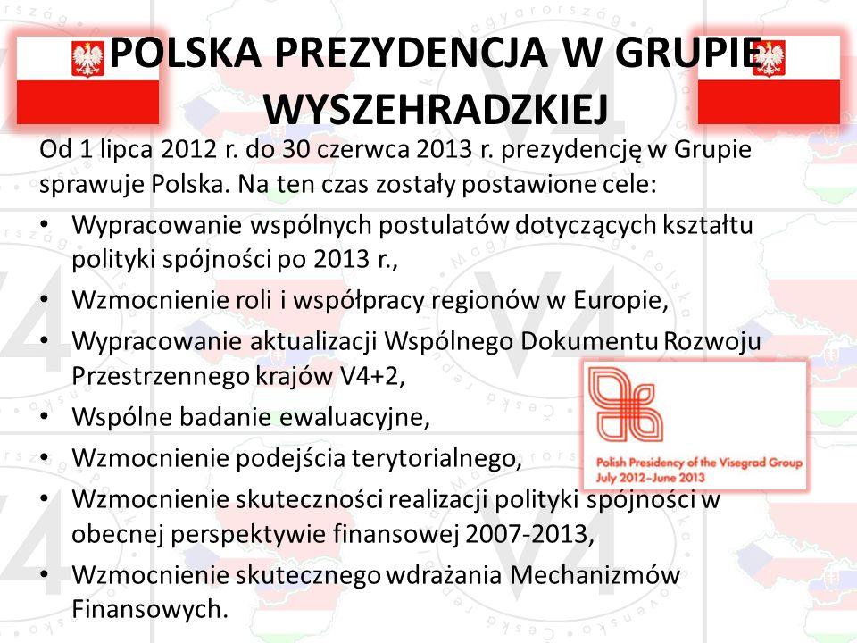 POLSKA PREZYDENCJA W GRUPIE WYSZEHRADZKIEJ Od 1 lipca 2012 r. do 30 czerwca 2013 r. prezydencję w Grupie sprawuje Polska. Na ten czas zostały postawio
