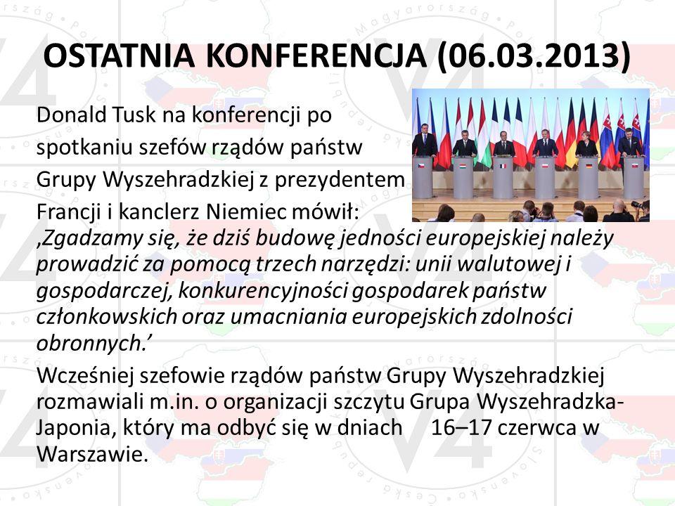 OSTATNIA KONFERENCJA (06.03.2013) Donald Tusk na konferencji po spotkaniu szefów rządów państw Grupy Wyszehradzkiej z prezydentem Francji i kanclerz N