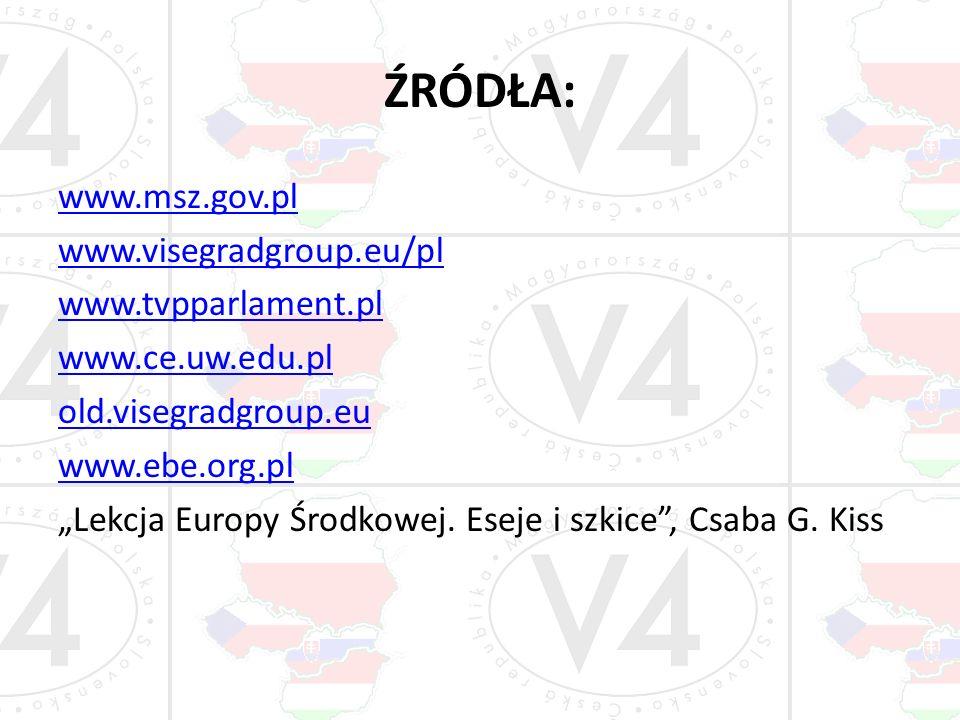 ŹRÓDŁA: www.msz.gov.pl www.visegradgroup.eu/pl www.tvpparlament.pl www.ce.uw.edu.pl old.visegradgroup.eu www.ebe.org.pl Lekcja Europy Środkowej. Ese