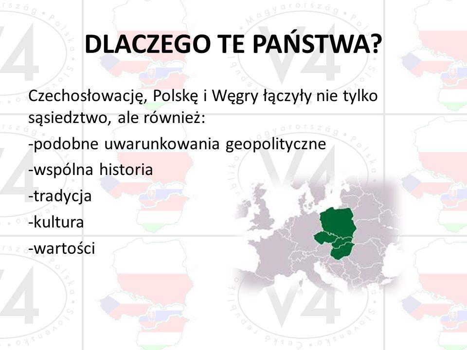 DLACZEGO TE PAŃSTWA? Czechosłowację, Polskę i Węgry łączyły nie tylko sąsiedztwo, ale również: -podobne uwarunkowania geopolityczne -wspólna historia