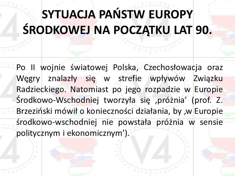 SYTUACJA PAŃSTW EUROPY ŚRODKOWEJ NA POCZĄTKU LAT 90. Po II wojnie światowej Polska, Czechosłowacja oraz Węgry znalazły się w strefie wpływów Związku R