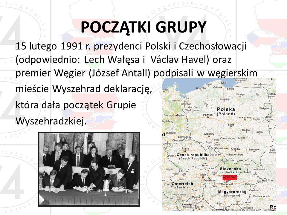 POCZĄTKI GRUPY 15 lutego 1991 r. prezydenci Polski i Czechosłowacji (odpowiednio: Lech Wałęsa i Václav Havel) oraz premier Węgier (József Antall) podp