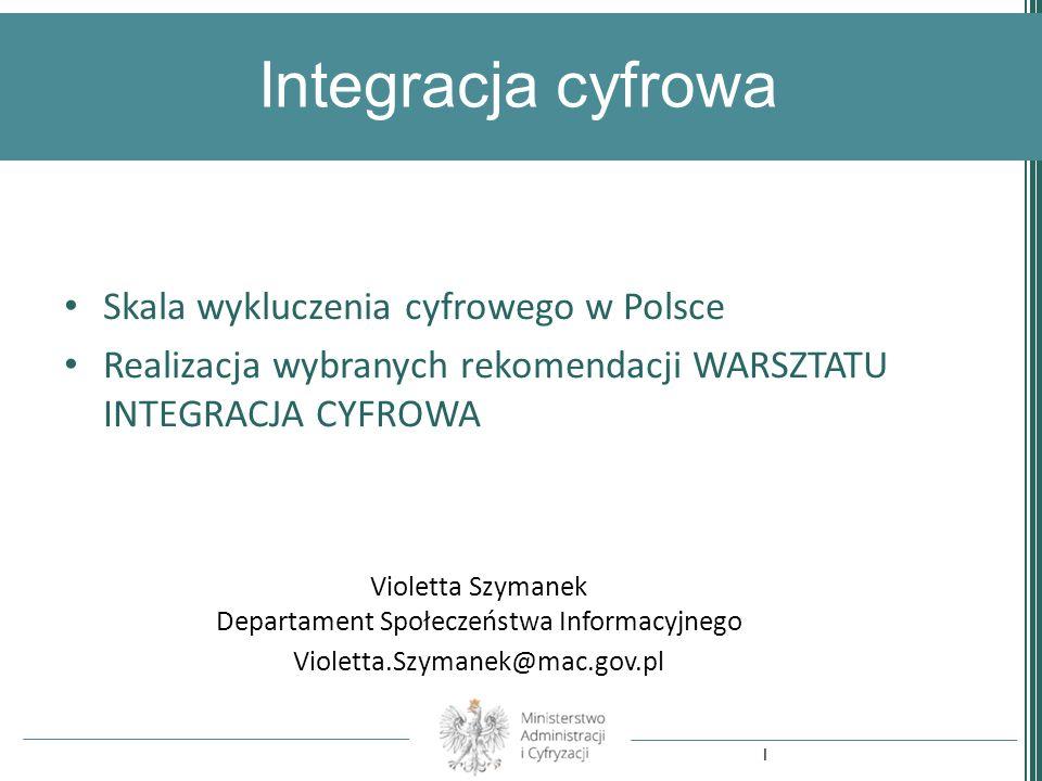 Integracja cyfrowa Violetta Szymanek Departament Społeczeństwa Informacyjnego Violetta.Szymanek@mac.gov.pl Skala wykluczenia cyfrowego w Polsce Realiz