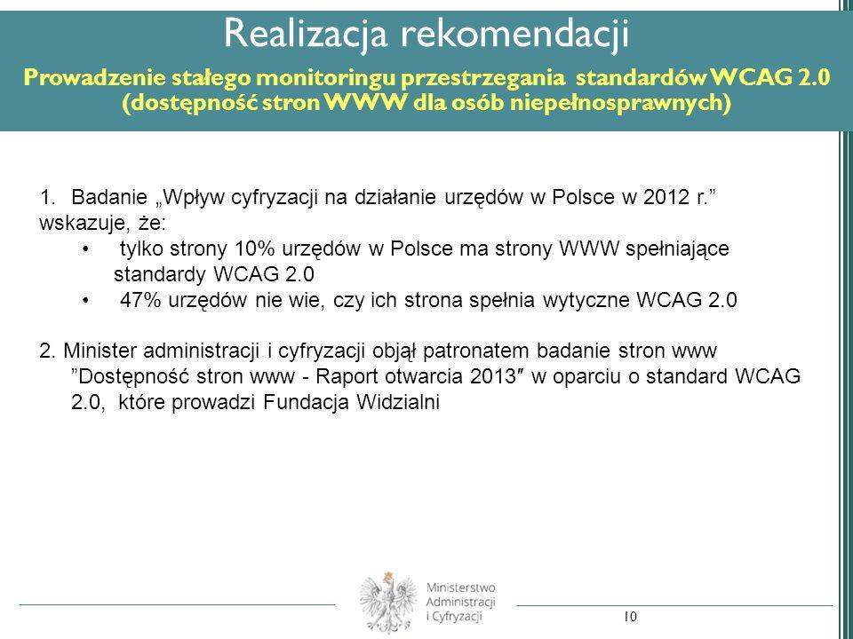 Realizacja rekomendacji Prowadzenie stałego monitoringu przestrzegania standardów WCAG 2.0 (dostępność stron WWW dla osób niepełnosprawnych) 1.Badanie