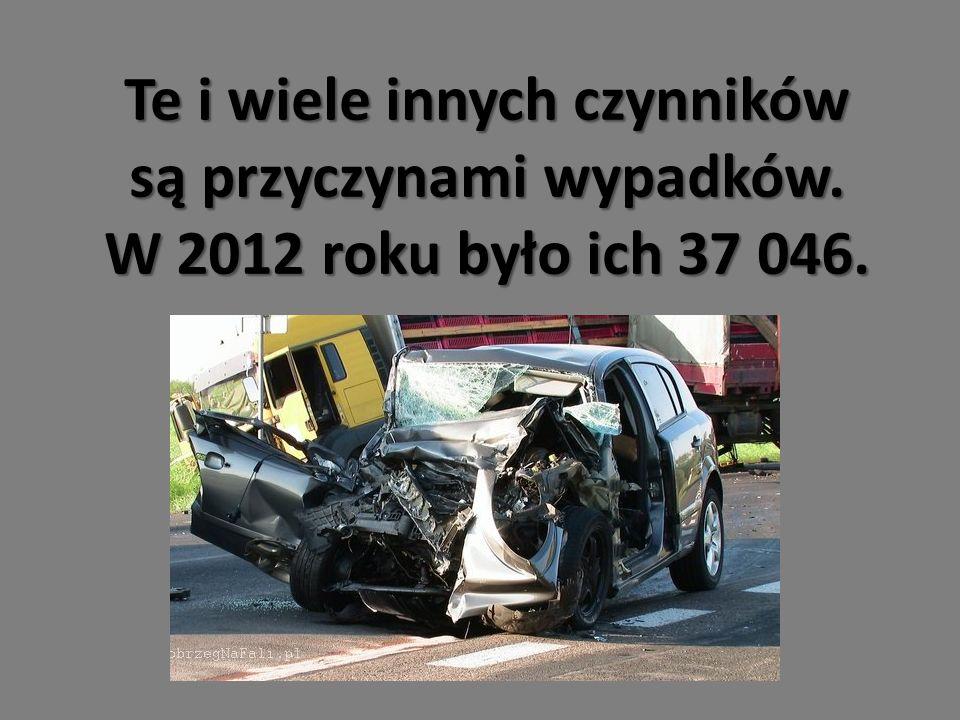 Te i wiele innych czynników są przyczynami wypadków. W 2012 roku było ich 37 046.