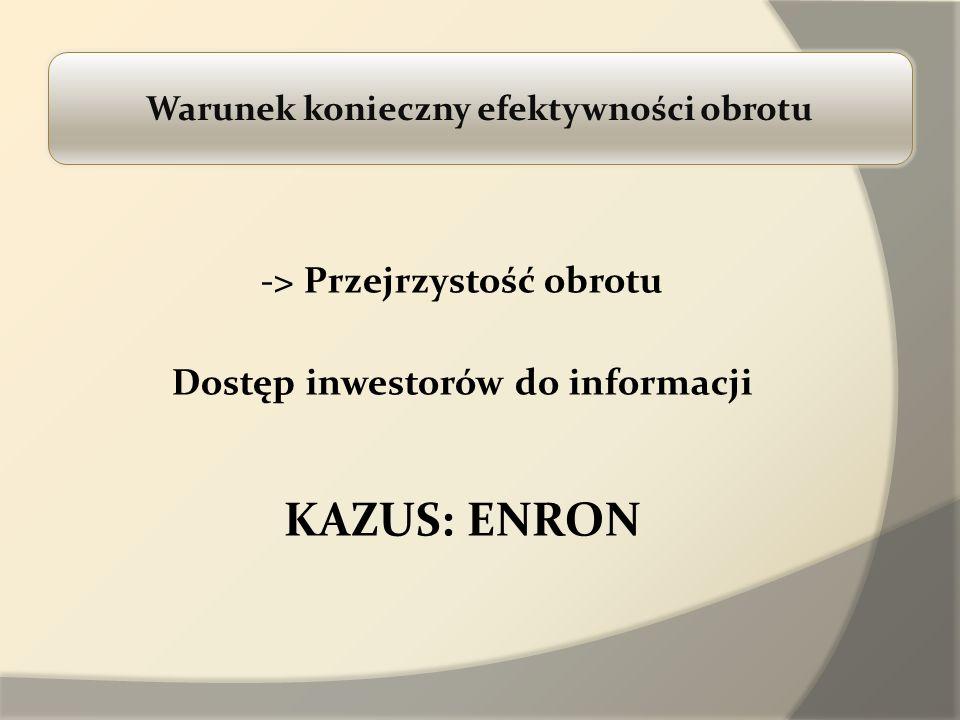 Warunek konieczny efektywności obrotu -> Przejrzystość obrotu Dostęp inwestorów do informacji KAZUS: ENRON