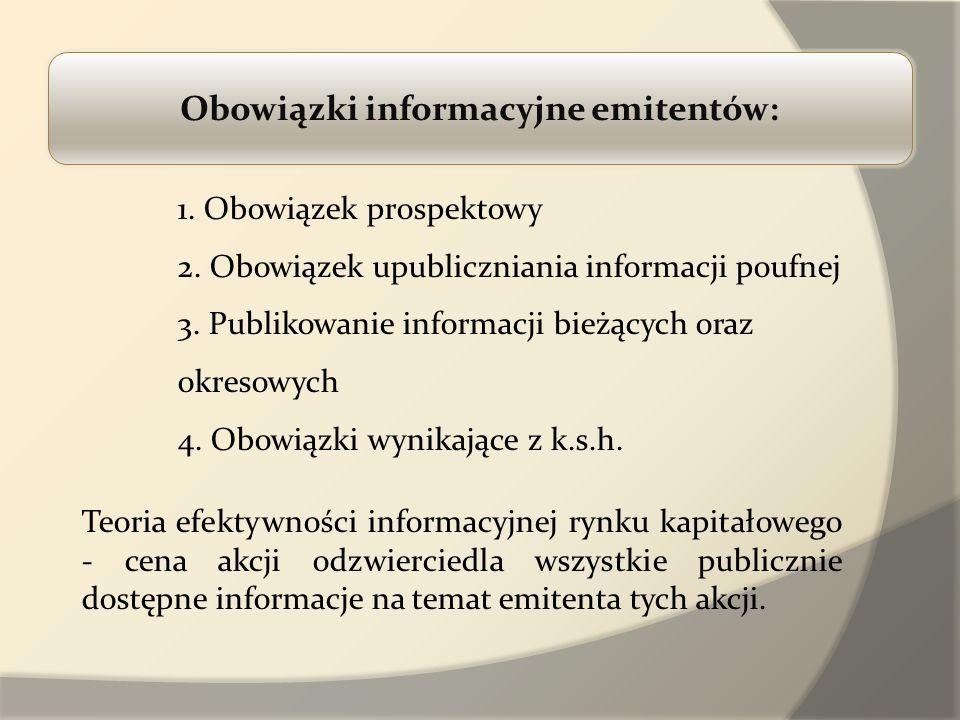 Obowiązki informacyjne emitentów: 1. Obowiązek prospektowy 2. Obowiązek upubliczniania informacji poufnej 3. Publikowanie informacji bieżących oraz ok