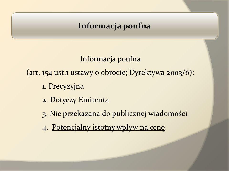 Informacja poufna (art. 154 ust.1 ustawy o obrocie; Dyrektywa 2003/6): 1. Precyzyjna 2. Dotyczy Emitenta 3. Nie przekazana do publicznej wiadomości 4.