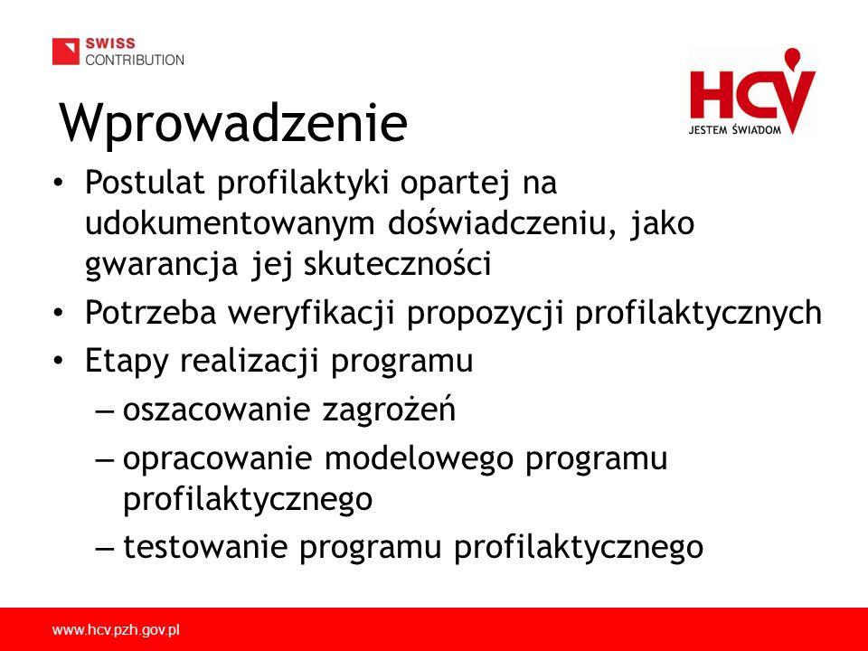 www.hcv.pzh.gov.pl Wprowadzenie Postulat profilaktyki opartej na udokumentowanym doświadczeniu, jako gwarancja jej skuteczności Potrzeba weryfikacji propozycji profilaktycznych Etapy realizacji programu – oszacowanie zagrożeń – opracowanie modelowego programu profilaktycznego – testowanie programu profilaktycznego