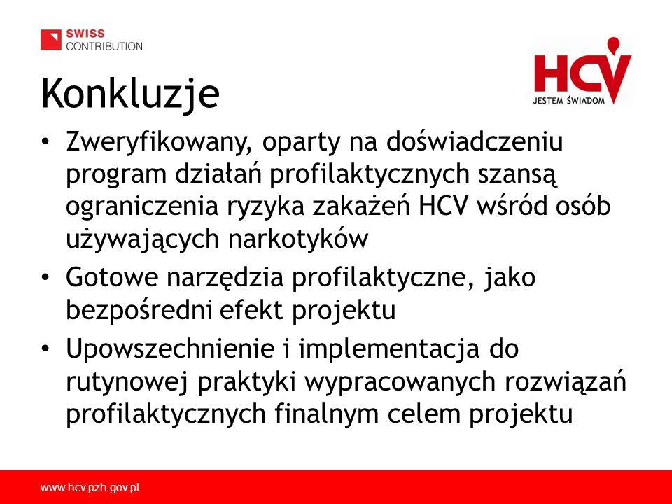 www.hcv.pzh.gov.pl Konkluzje Zweryfikowany, oparty na doświadczeniu program działań profilaktycznych szansą ograniczenia ryzyka zakażeń HCV wśród osób używających narkotyków Gotowe narzędzia profilaktyczne, jako bezpośredni efekt projektu Upowszechnienie i implementacja do rutynowej praktyki wypracowanych rozwiązań profilaktycznych finalnym celem projektu