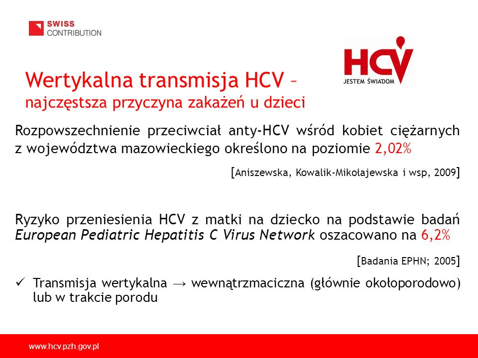 www.hcv.pzh.gov.pl Wertykalna transmisja HCV – najczęstsza przyczyna zakażeń u dzieci Rozpowszechnienie przeciwciał anty-HCV wśród kobiet ciężarnych z województwa mazowieckiego określono na poziomie 2,02% [ Aniszewska, Kowalik-Mikołajewska i wsp, 2009 ] Ryzyko przeniesienia HCV z matki na dziecko na podstawie badań European Pediatric Hepatitis C Virus Network oszacowano na 6,2% [ Badania EPHN; 2005 ] Transmisja wertykalna wewnątrzmaciczna (głównie okołoporodowo) lub w trakcie porodu