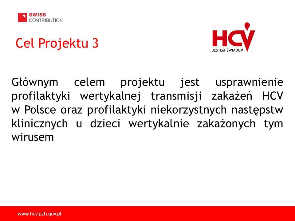 www.hcv.pzh.gov.pl Cel Projektu 3 Głównym celem projektu jest usprawnienie profilaktyki wertykalnej transmisji zakażeń HCV w Polsce oraz profilaktyki niekorzystnych następstw klinicznych u dzieci wertykalnie zakażonych tym wirusem